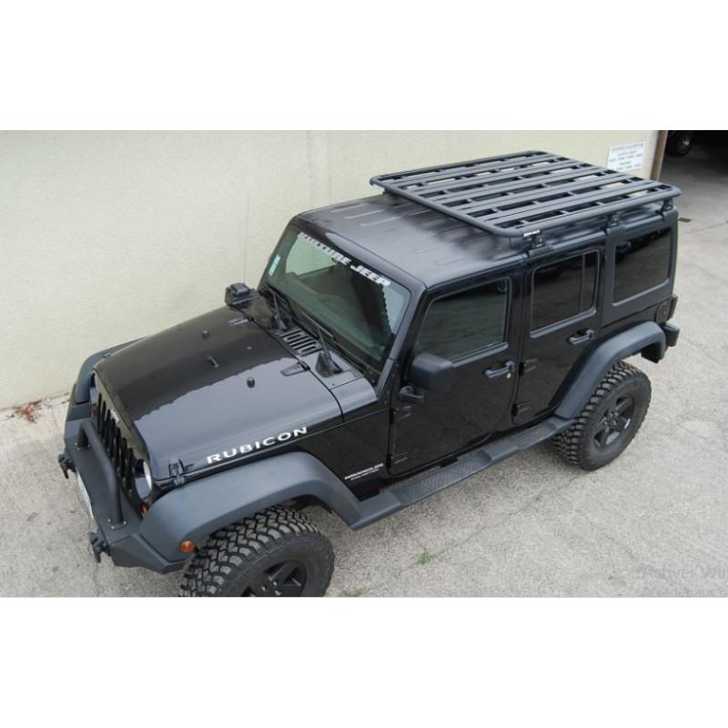 galerie de toit rhino rack wrangler jk 4 portes aluminium. Black Bedroom Furniture Sets. Home Design Ideas