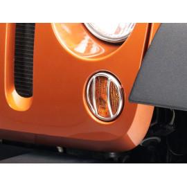 Grille protection inox clignotant calandre Jeep Wrangler JK