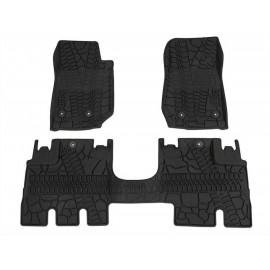 Tapis AV & AR noir trace pneu Jeep Wrangler JK 4 p 2014 à 2018